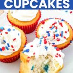 red white and blue sprinkle cupcakes